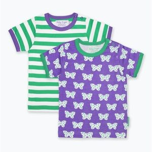 Organic Cotton 2-pack Tees green purple butterfly